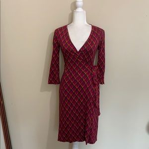 Diane Von Furstenberg Julian 100% Silk Wrap Dress